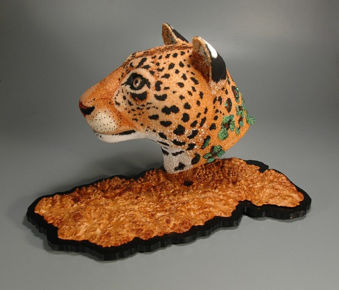Changing Spots (Amur Leopard), beadwork sculpture by Leslie B. Grigsby