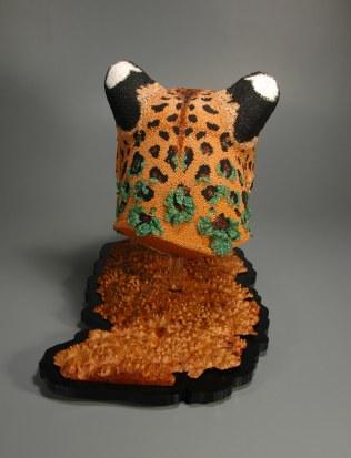 Changing Spots (Amur Leopard), Leslie B. Grigsby beadwork sculpture