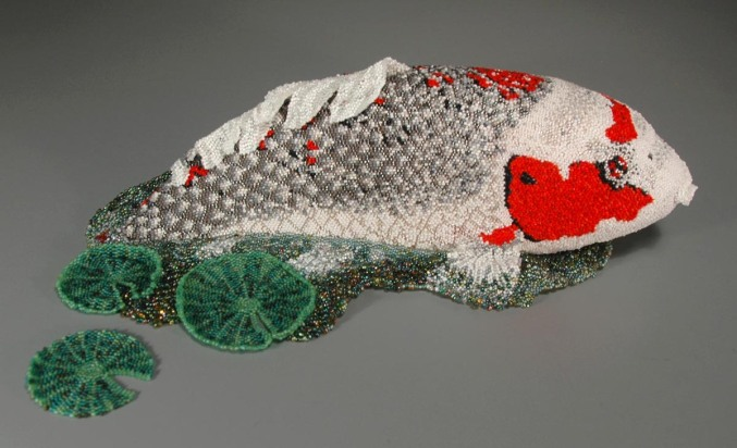 Jeannie's Koi - overall (Leslie B. Grigsby beadwork sculpture)