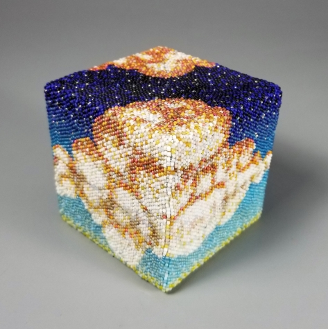 """Grigsby Four Elements """"Freedom Cubed: Air"""" beadwork sculpture"""