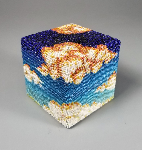 """Grigsby Four Elements """"Freedom Cubed: Air"""" beadwork sculpture, view 2"""